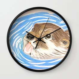 Otter in water Wall Clock