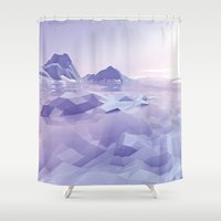 low poly Shower Curtains featuring Low Poly Art by NewLineGraphics