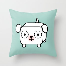 Pitbull Loaf - White Pit Bull with Floppy Ears Throw Pillow