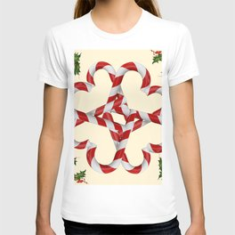 CREAMY YELLOW  RED-WHITE PINK  CHRISTMAS CANDY CANES T-shirt
