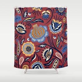 Abstract burgundy navy blue autumn floral Shower Curtain
