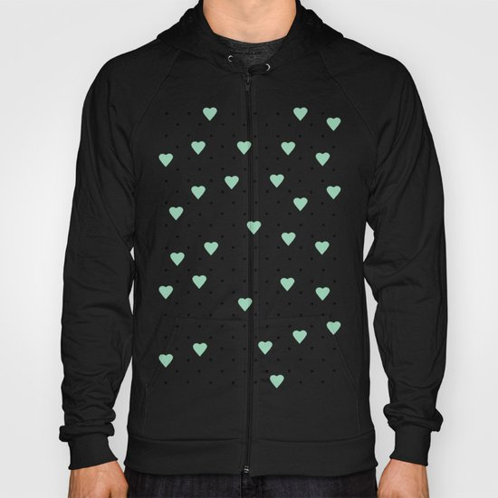 Pin Point Hearts Mint Hoody