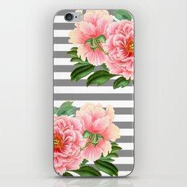 Pink Peonies Grey Stripes Chic iPhone Skin