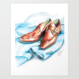 Leather & Tweed Art Print