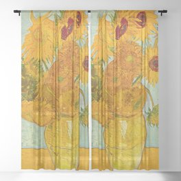 Sunflowers Oil Painting By Vincent van Gogh Sheer Curtain