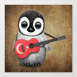 Baby Penguin Playing Turkish Flag Guitar Canvas Print