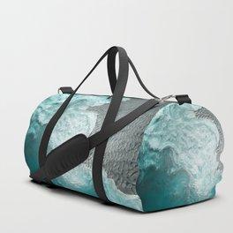 """Sea foam dancing on the blue ocean and gray sand"" Duffle Bag"