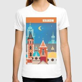 Krakow, Poland - Skyline Illustration by Loose Petals T-shirt