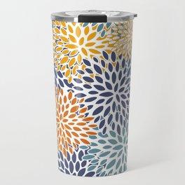 Floral Blooms, Blue, Teal, Orange, Yellow Travel Mug