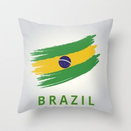 Abstract Brazil Flag Design Throw Pillow