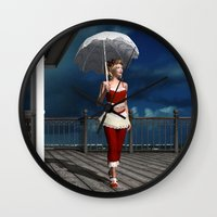 scandal Wall Clocks featuring Victorian summer scandal by Britta Glodde