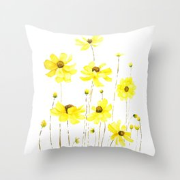 yellow cosmos flowers watercolor Throw Pillow