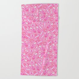 Kawaii Menhera on Pink Beach Towel