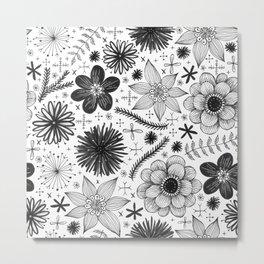 black and white floral print Metal Print