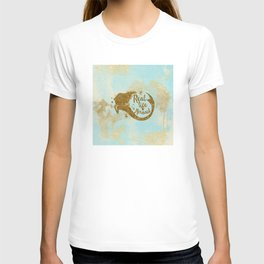 Real life Mermaid - Gold glitter lettering on aqua glittering background T-shirt