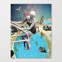 hippy Canvas Prints featuring Happy Hippy Hippo by Eugenia Loli