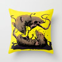rat Throw Pillows featuring rat fight by antoniopiedade