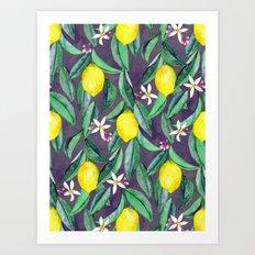 When Life Gives You Lemons - grey purple Art Print