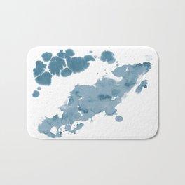 Paint 11 abstract indigo blue modern minimal art print affordable stretched canvas home decor art Bath Mat