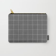 Grey and White Grid Carry-All Pouch
