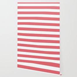 Light carmine pink - solid color - white stripes pattern Wallpaper