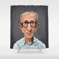 woody allen Shower Curtains featuring Celebrity Sunday ~ Woody Allen by rob art | illustration