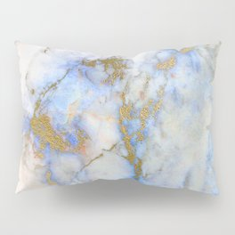 Gold And Blue Marble Pillow Sham