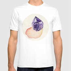 Amethyst Splash MEDIUM White Mens Fitted Tee
