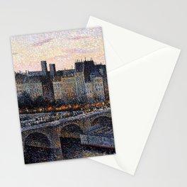 Paris City Lights & Twilight Skyline along the River Seine landscape painting by Maximilien Luce Stationery Cards