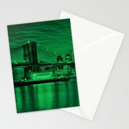 New York City - Brooklyn Bridge Green Twilight - Pop Art Panorama - Jéanpaul Ferro - Stationery Cards