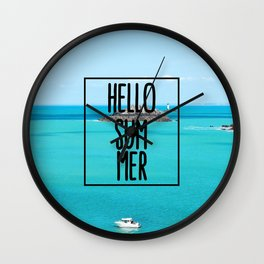 Hello Summer Typography with Turquoise Ocean Wall Clock