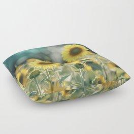 Sunflower Flower Photography, Yellow Teal Nature Turquoise Aqua Blue Green Floor Pillow