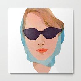Vintage Glamorous Lady In Sunglasses   Metal Print