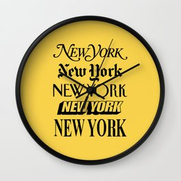 New York City Yellow Taxi and Black Typography Poster NYC Wall Clock