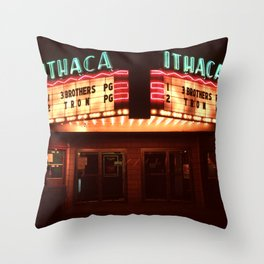 Night Lights Ithaca Theater Throw Pillow