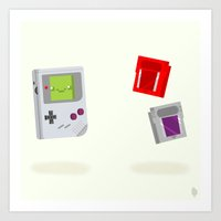 gameboy Art Prints featuring Gameboy & Games by Derek Temple