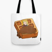 leslie knope Tote Bags featuring Leslie Knope + Giant Waffle by Faellen