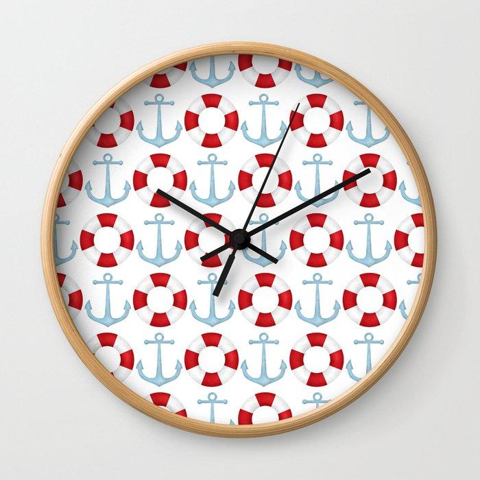 Anchors And Buoys Pattern Wall Clock
