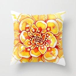Marigold Mandala Throw Pillow