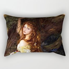 Classical Masterpiece: Ophelia (And He Will Not Come Back Again) by Arthur Hughes, circa 1865 Rectangular Pillow