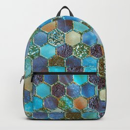 Blue & green metal glitter geometric hexagonal honeycomb pattern Backpack