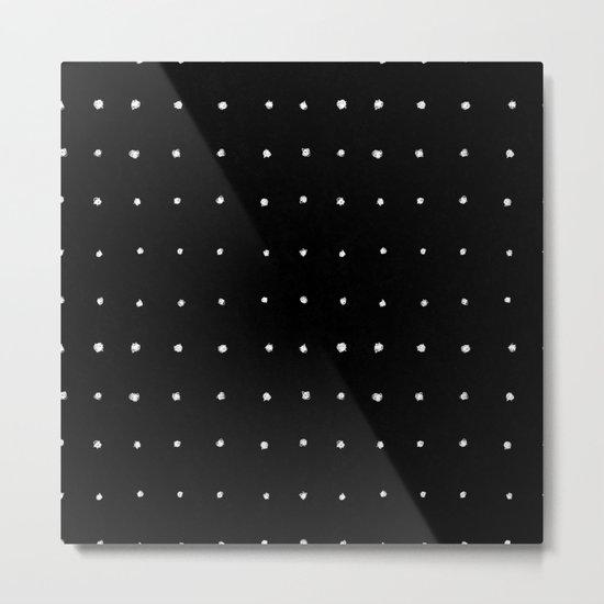 Dot Grid White on Black Metal Print