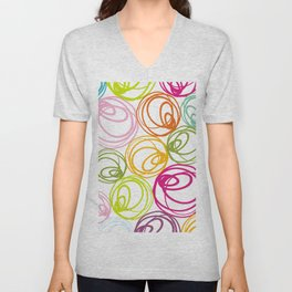 colorful doodles on white Unisex V-Neck