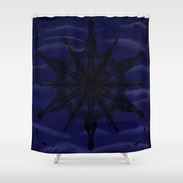 Gothic Snowflake Silhouette Shower Curtain