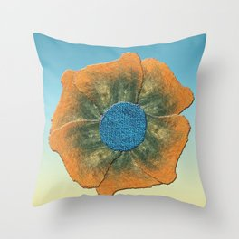 Orange flower on blue Throw Pillow