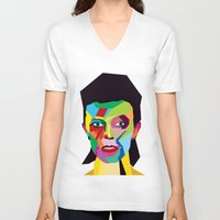 bowie V-neck T-shirts featuring bowie by mark ashkenazi