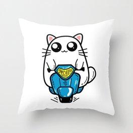 Cat scooter Throw Pillow