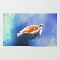 Sea Turtle Watercolor Art Rug