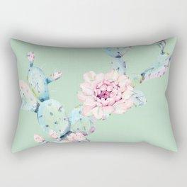 Rose Desert Cactus Mint Green + Pink Rectangular Pillow
