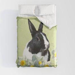 Black White Bunny - Rabbit - Daffodils - Eastern Design Comforters